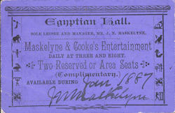 Ticket for Maskelyne & Cooke's entertainment